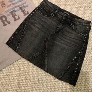 Black Studded Denim Skirt